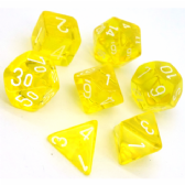 Yellow & White Translucent Polyhedral 7 Dice Set